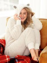 冬季卡pe可爱连体睡ar冬浴袍保暖家居服加厚珊瑚绒长式连体衣