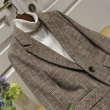 格子西pe外套女韩款lc秋装新式休闲显瘦气质女士长袖短式西服
