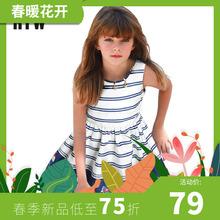 RTWpe装女童纯棉rm2021年夏海军风印花中大童裙子宝宝沙滩裙