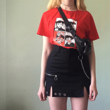 黑色性pe修身半身裙rm链条短裙女高腰显瘦修身开叉百搭裙子夏