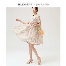 SELpeYNEARan20时尚孕妇夏装混色水墨印花系带夏天连衣裙子潮妈季
