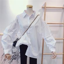 202pe春秋季新式dl搭纯色宽松时尚泡泡袖抽褶白色衬衫女衬衣