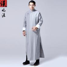 中国风pe国长衫男士nc麻唐装外套中式立领大襟男装禅修居士服