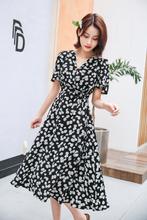 (小)雏菊pe花连衣裙2ew夏新式法式V领收腰雪纺系带显瘦气质裙子女
