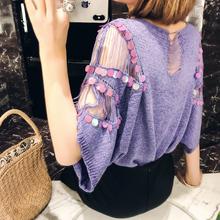 202pe夏季韩款新ew袖亮片罩衫女纯色镂空圆领冰丝薄式针织衫潮