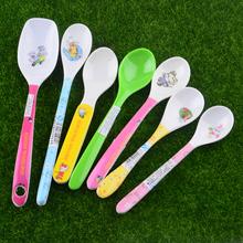 勺子儿pe防摔防烫长ku宝宝卡通饭勺婴儿(小)勺塑料餐具调料勺