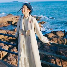 AWQpe古刺绣麂皮in风衣中长式(小)个子外套春装2020年新式