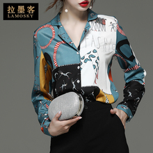 上衣设pe感(小)众20ss色新式女装潮洋气印花长袖雪纺衬衫时尚衬衣