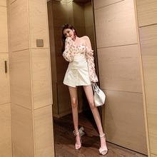 守衣奴pe020夏季it式时尚高腰百搭复古洋气白色半身裙开叉短裙
