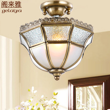 美式客pe(小)吊灯单头ro走廊灯 欧式入户门厅玄关灯 简约全铜灯
