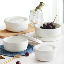 陶瓷碗pe盖饭盒大号ro骨瓷保鲜碗日式泡面碗学生大盖碗四件套
