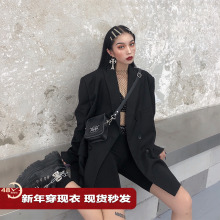 鬼姐姐pe色(小)西装女ro新式中长式chic复古港风宽松西服外套潮