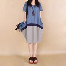 202pe夏季新式布ro大码韩款撞色拼接棉麻连衣裙时尚亚麻中长裙
