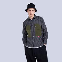 深圳原创设计品牌JUSTOpf10ERB13流男装黑色竖条纹衬衫