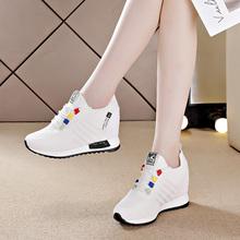 内增高pf白鞋子女2hu年秋季新式百搭厚底单鞋女士旅游运动休闲鞋