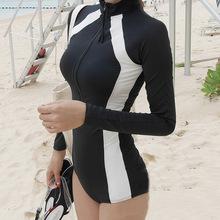 新款二件套防晒长袖泳衣女拉链pf11守钢托js身连体温泉泳装