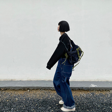 【咕噜喔】自制pf瘦日系宽松js学生街头美款复古牛仔背带长裤