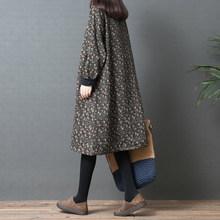 女秋冬pf新式201js宽松大码印花高领打底裙棉麻加绒加厚连衣裙