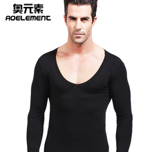 男士低ph大领V领莫gu暖秋衣单件打底衫棉质毛衫薄式上衣内衣