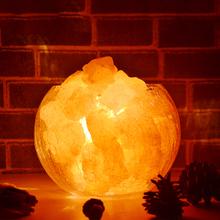 喜马拉ph水晶盐灯卧li香薰台灯创意(小)夜灯玫瑰矿石岩灯