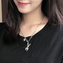 韩款iphs锁骨链女le酷潮的兔子项链网红简约个性吊坠