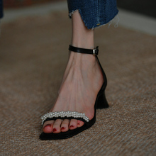 皮厚先生 高跟凉鞋女黑色ph9款串珠粗ne露趾女鞋2020年新款