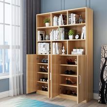 鞋柜一体立款ph功能带书架to户经济型阳台防晒靠墙书柜
