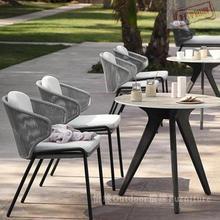 户外桌椅厅(小)桌ph4伞露天防to花园藤椅奶茶店三件套咖啡庭院