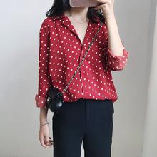 春夏新pichic复no酒红色长袖波点网红衬衫女装V领韩国打底衫