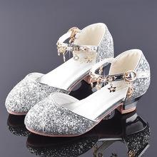 女童公主鞋2pi19新款洋za孩水晶鞋礼服鞋子走秀演出儿童高跟鞋