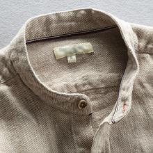 立领亚pi短袖衬衫男za料长袖衬衣日系中国风男装大码商务休闲