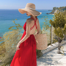 三亚沙pi裙2020in夏红色露背连衣裙超仙海边度假旅游拍照长裙