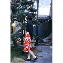 青知润pi原创自制《in港味复古花色高腰a字半身裙职业直筒裙女