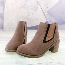 高跟粗pi羊皮真皮时ng子圆头松紧口女靴子短靴切尔西靴X91-3