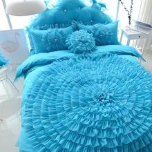 粉色公pi韩款全棉 ng裙四件套纯棉蕾丝床单婚庆床上用品包邮