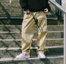 US联pi街牌弹力宽an节裤脚工装裤BBOY练舞纯色滑板休闲裤