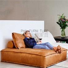 北欧轻pi榻榻米贵妃ns科技布艺真皮单的面包(小)户型懒的沙发