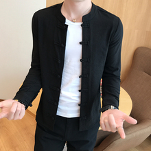 衬衫男中国pi长袖亚扣唐ng棉麻纯色中款复古大码宽松上衣外套