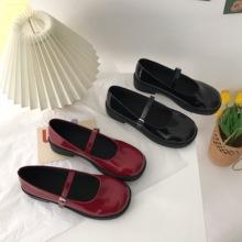 (小)supi家 韩国漆ng玛丽珍鞋平跟一字百搭单鞋女鞋子jk(小)皮鞋夏