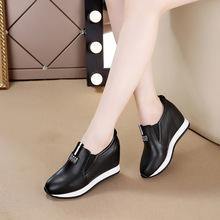 内增高pi鞋透气百搭ei2021春式镂空懒的鞋显脚(小)一脚蹬乐福鞋