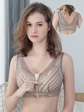 前面带pi链的胸罩前ei女无钢圈收副乳聚拢防下垂美背上托薄式