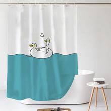 inspi帘套装免打ei加厚防水布防霉隔断帘浴室卫生间窗帘日本