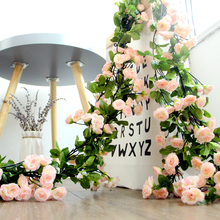 仿真玫瑰花pi假花樱花藤ar暖气空调管道装饰缠绕遮挡塑料藤蔓