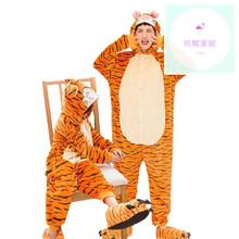 万圣节pi虎表演服大ar情侣卡通动物连体睡衣宝宝牛马龙演出服