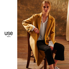 双面呢pi毛大衣女Uar020秋冬式驼色中长式双面绒大衣毛呢外套OL