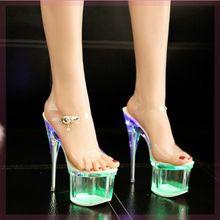 恨凉鞋pi跟高跟鞋1ar0cm超高跟欧美夜店高跟单鞋水晶透明鞋