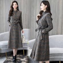 新式春pi冬格子风衣cu质中长式收腰大衣时尚立领