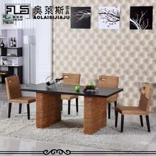 藤椅椅pi店餐椅藤编mo饭店椅组合餐餐桌椅靠背椅东南亚