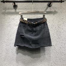 欧洲站pi洞牛仔裙女km半身裙女高腰21春夏新式a字短裙包臀裙