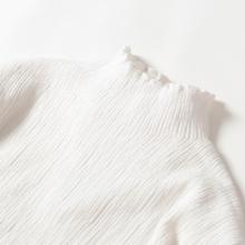 木耳边pi色针织上衣hi边领内搭 纯色半高领春秋打底衫